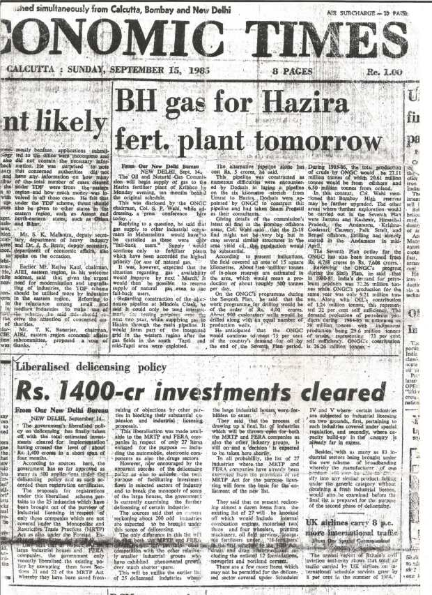 Economic Times - September 15th, 1985